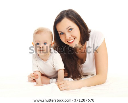 Portrait happy smiling mother with baby on a white background - stock photo