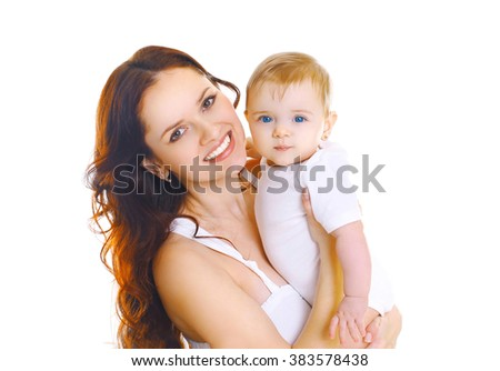 Portrait happy smiling mother with cute baby on a white background - stock photo