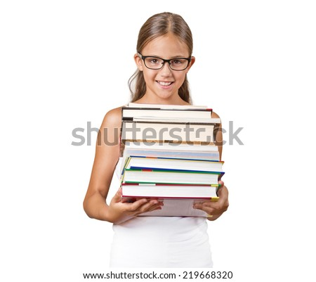 portrait happy teenager girl student holding carrying pile of books isolated white background. Positive face expressions, emotions. Education, knowledge, literacy concept - stock photo