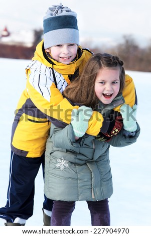 Portrait happy young couple outdoor - stock photo