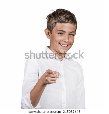 Portrait happy young man, teenager laughing, pointing with finger at someone, something, isolated white background. Positive human face expressions emotion, feeling, attitude, approach, perception - stock photo