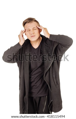 portrait ill young man with his head on his hand. emotions, facial expressions, feelings, body language, signs. image on a white studio background.