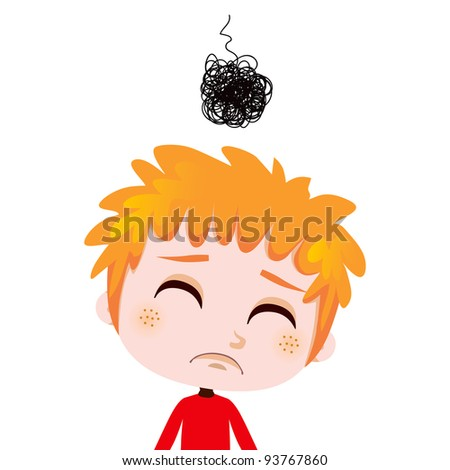 Portrait illustration of a worried kid expressing sadness and depression - stock photo