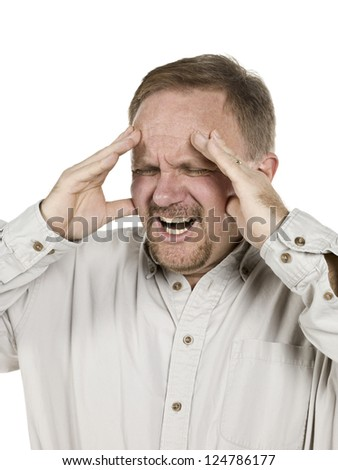 Portrait image of an old man having a headache isolated on