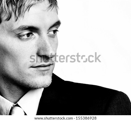Portrait in black and white - stock photo