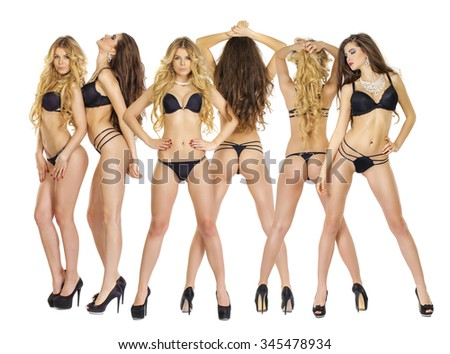 Portrait in full growth, collage beautiful models in black lingerie, blonde and brunette, front and back, isolated on white background - stock photo