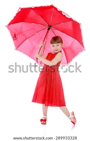 Portrait in red, adorable little girl holding an umbrella - isolated on white background - stock photo