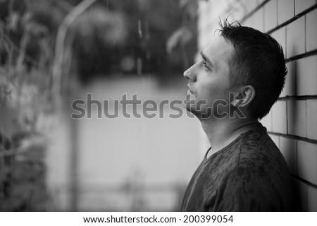 portrait in the rain - stock photo