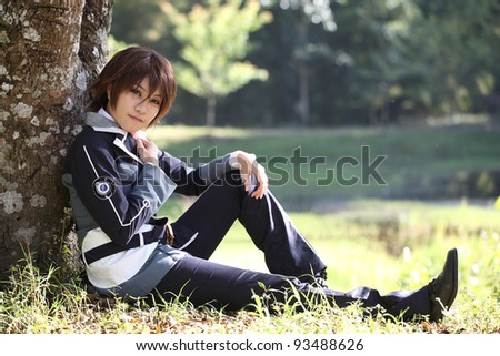 Portrait Japanese High school cosplay on nature - stock photo