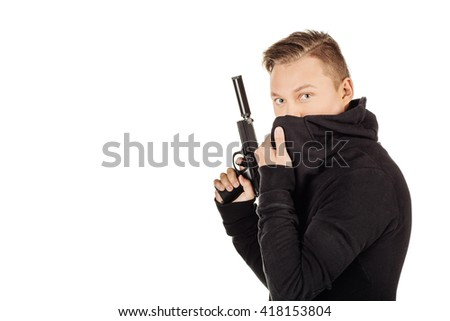 Portrait killer or private military contractor holding black gun. war, army, weapon, technology and people concept. Image on a white background. - stock photo