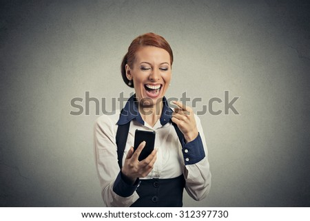 Portrait laughing woman with smart phone  - stock photo