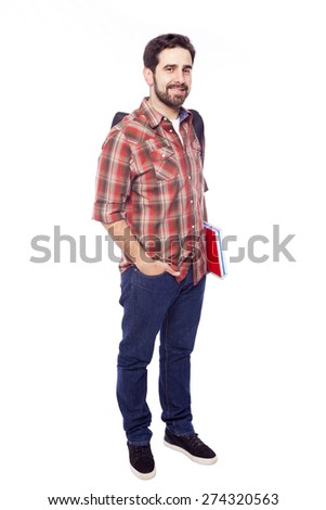 Portrait length portrait of a smiling student, isolated on white background