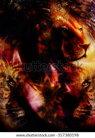 portrait lion and Tiger face, profile portrait, on colorful abstract feather  background. Abstract color collage with spots. - stock photo