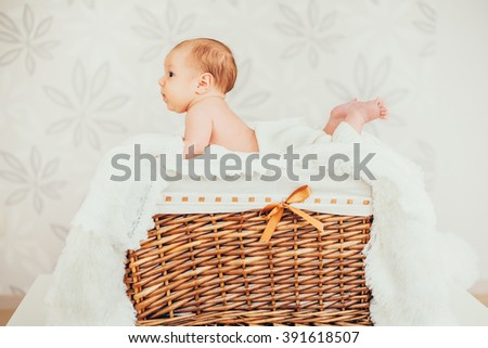 portrait little baby (child) lying in a wooden basket. newborn. son. boy.