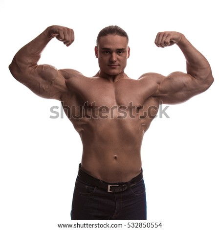 portrait male bodybuilder with bare-chested on a white background