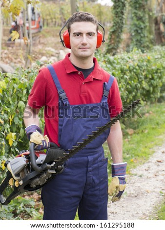 portrait man wearing  ear protectors trimming the bush in the backyard with petrol  bush trimmer - stock photo