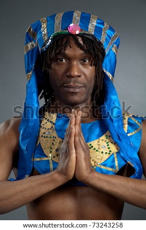 Portrait men african in old cloth of the egyptian - stock photo