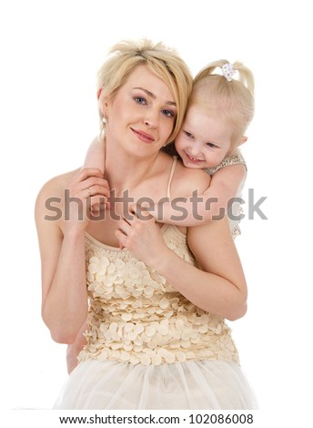 Portrait mother and daughter. isolated on white background - stock photo