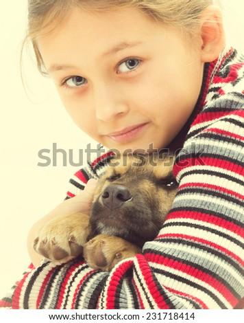 portrait nice little girl and dog - stock photo