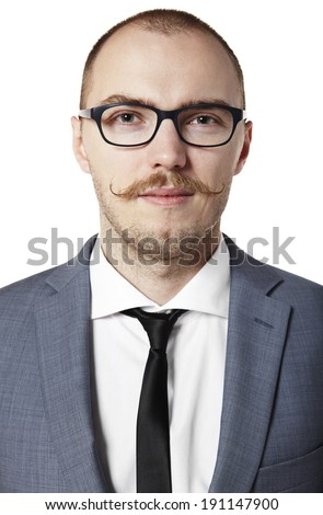 Portrait od guy with a mustache. Isolated on white.