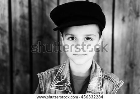 Portrait of a adorable little boy - stock photo