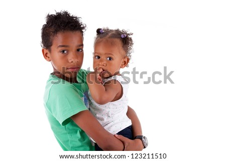Portrait of a African American brother and sister, isolated on white background - stock photo