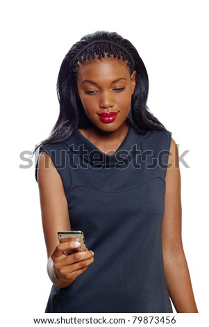Portrait of a  African American business woman with a cellphone on white background