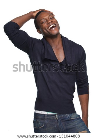 Portrait of a african american man laughing against white background - stock photo