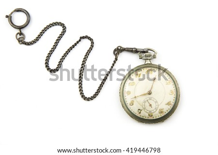 portrait of a antique pocket watch / antique pocket watch - stock photo
