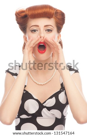 Portrait of a attractiva pinup woman screaming out loud, isolated on a white background - stock photo