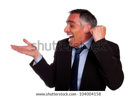 Portrait of a attractive and excited executive laughing with extended right hand against white background - stock photo