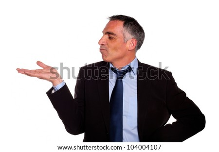 Portrait of a attractive broker looking extended hand on black and blue suit on isolated background