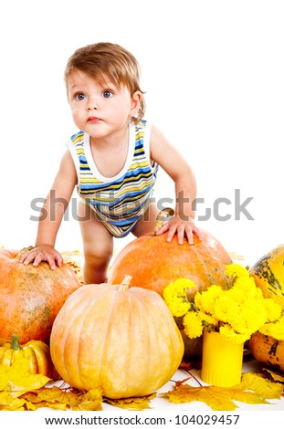 Portrait of a baby among ripe pumpkins