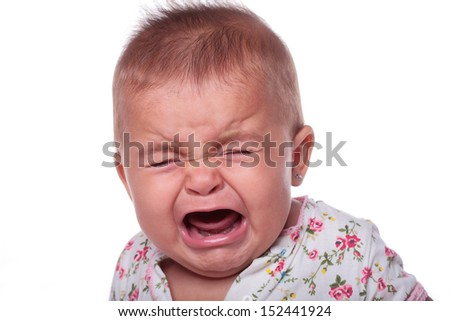 portrait of a baby crying isolated on white