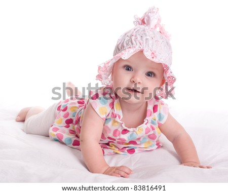 Portrait of a baby girl  on a white background - stock photo
