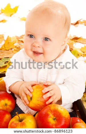Portrait of a baby with apples