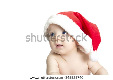 Portrait of a baby with Santa hat  isolated on white, beautiful funny infant in Santa's hat - stock photo