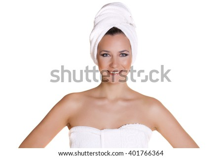 Portrait of a bared beautiful woman getting ready for the spa treatment, isolated on a white background, please see some of my other parts of a body images - stock photo