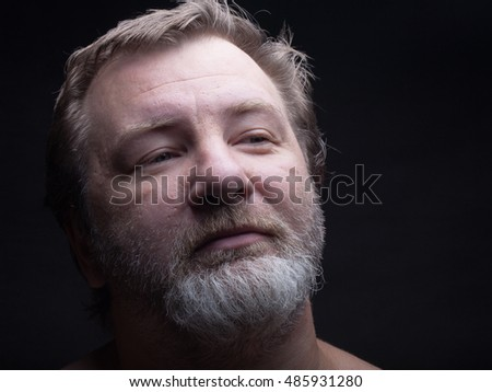 Portrait of a bearded man. Grimace.