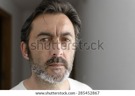 Portrait of a bearded man looking at camera. Selective focus.