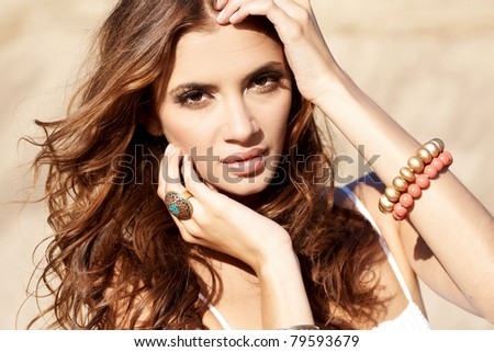 portrait of a beautiful adult sensual woman with jewelery - stock photo