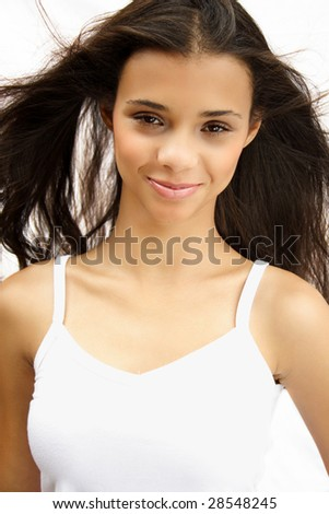 Portrait of a beautiful african american long hair girl
