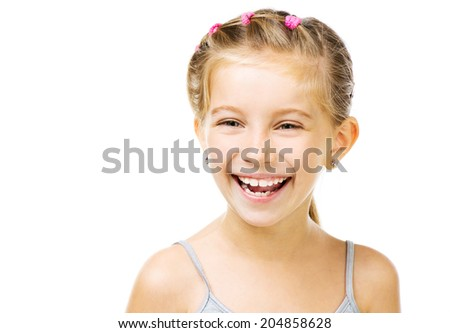 Portrait of a beautiful and confident girl isolated on white background - stock photo
