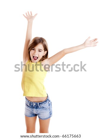 Portrait of a beautiful and confident girl with arms on the air, isolated one white - stock photo