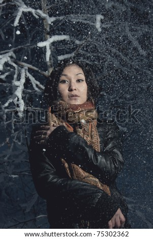 Portrait of a beautiful asian girl - stock photo