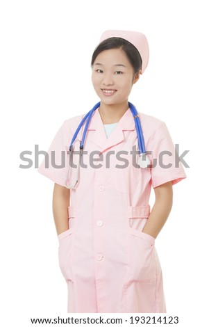 Portrait of a beautiful Asian nurse with a stethoscope around her neck isolated on a white background