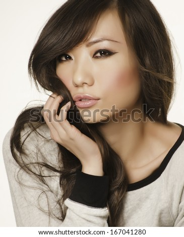 Portrait of a beautiful Asian woman's face