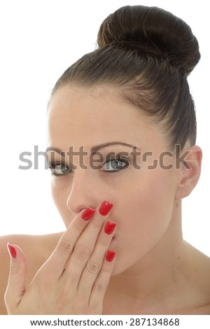Portrait Of A Beautiful Attractive Shocked Shy And Embarrassed Young Caucasian Woman Shot Against White - stock photo