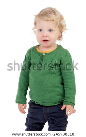 Portrait of a beautiful baby isolated on a white background