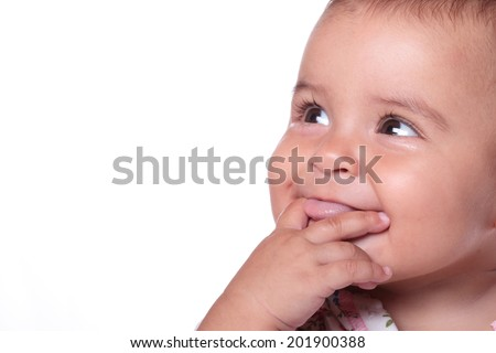 portrait of a beautiful baby smiling - stock photo